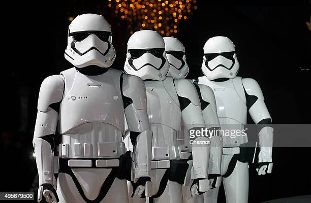 Actors dressed as Storm Trooper characters from 'Star Wars' movie 'Star Wars Episode VII The Force Awakens' attend the launch of Christmas lights at...