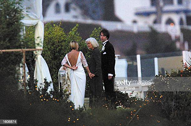 Actors Drew Barrymore and Tom Green get married at a private ceremony July 10 2001 in Malibu CA