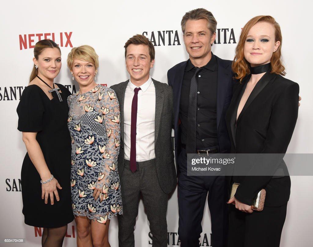 Actors Drew Barrymore, Mary Elizabeth Ellis, Skyler Gisondo, Timothy Olyphant and Liv Hewson attend the 'Santa Clarita Diet' Premiere on February 1, 2017 in Los Angeles, California.