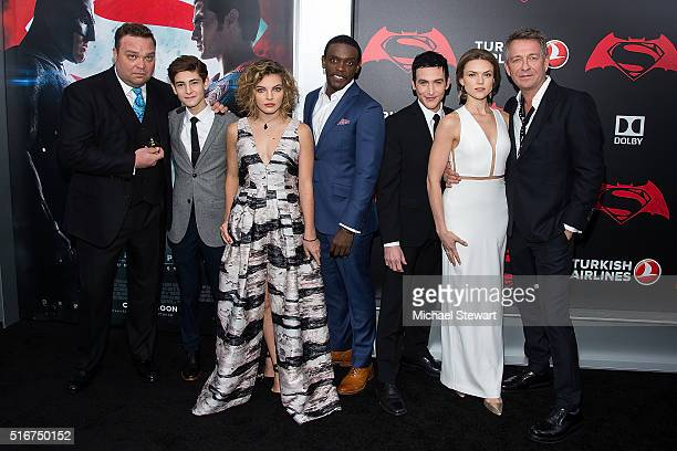 Actors Drew Powell David Mazouz Camren Bicondova Chris Chalk Robin Lord Taylor Erin Richards and Sean Pertwee attend the 'Batman V Superman Dawn Of...
