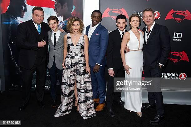 Actors Drew Powell David Mazouz Camren Bicondova Chris Chalk Robin Lord Taylor Erin Richards and Sean Pertwee attend the 'Batman V Superman Dawn Of...