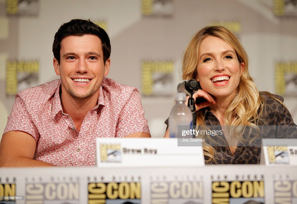 Actors Drew Roy and Sarah Carter speaks onstage at TNT at ComicCon International San Diego 2014 'Falling Skies' Panel at San Diego Convention Center...