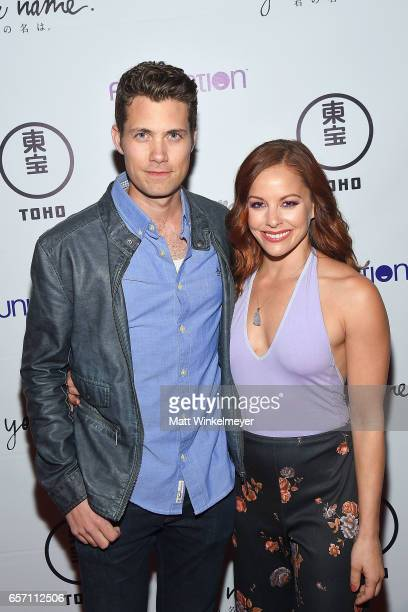 Actors Drew Seeley and Amy Paffrath attend Funimation Films presents 'Your Name' Theatrical Premiere in Los Angeles CA at Yamashiro Hollywood on...