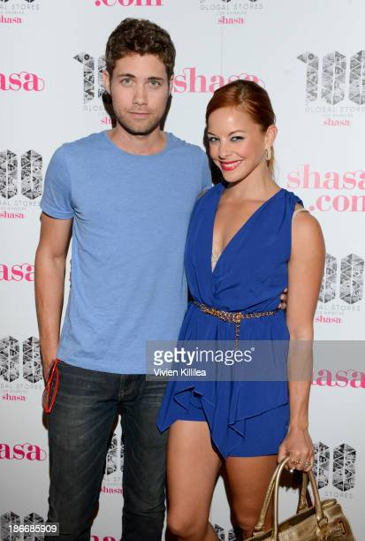 Actors Drew Seeley and Amy Paffrath attend Shasa 100th Store Grand Opening And Fashion Event At The Glendale Galleria at Glendale Galleria on...