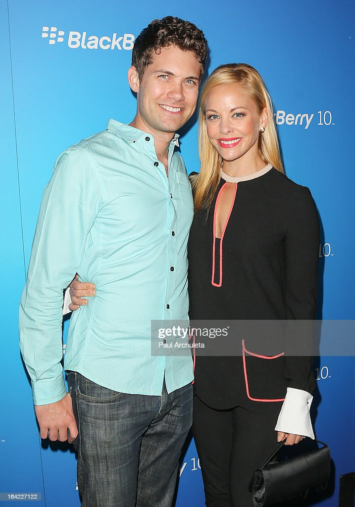 Actors <a gi-track='captionPersonalityLinkClicked' href=/galleries/search?phrase=Drew+Seeley&family=editorial&specificpeople=835160 ng-click='$event.stopPropagation()'>Drew Seeley</a> and <a gi-track='captionPersonalityLinkClicked' href=/galleries/search?phrase=Amy+Paffrath&family=editorial&specificpeople=2270596 ng-click='$event.stopPropagation()'>Amy Paffrath</a> (R) attend the BlackBerry Z10 Smartphone launch party at Cecconi's Restaurant on March 20, 2013 in Los Angeles, California.