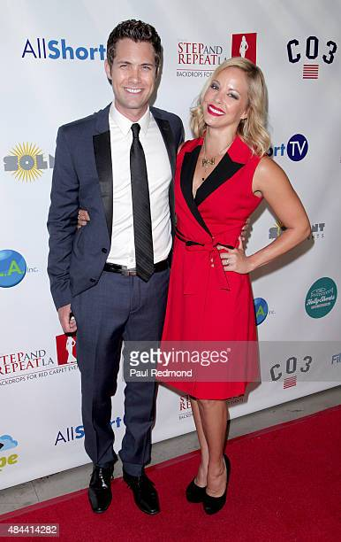 Actors Drew Seeley and Amy Paffrath attend the Hollyshorts 11th Annual Opening Night Celebration at TCL Chinese 6 Theatres on August 13 2015 in...