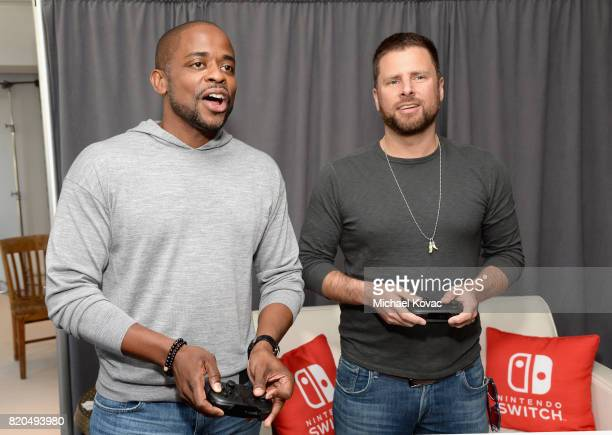 Actors Dule Hill and James Roday from the television series 'Psych' stopped by Nintendo at the TV Insider Lounge to check out Nintendo Switch during...