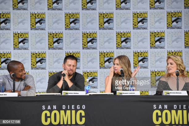 Actors Dule Hill James Roday Maggie Lawson and Kirsten Nelson speak onstage at the 'Psych' reunion and movie sneak peek during ComicCon International...