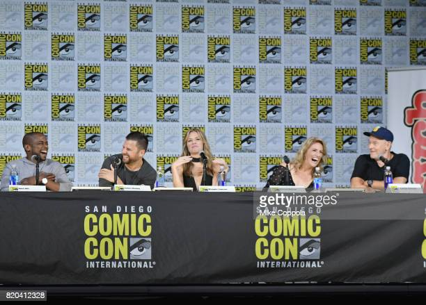 Actors Dule Hill James Roday Maggie Lawson Kirsten Nelson and Corbin Bernsen speak onstage at the 'Psych' reunion and movie sneak peek during...