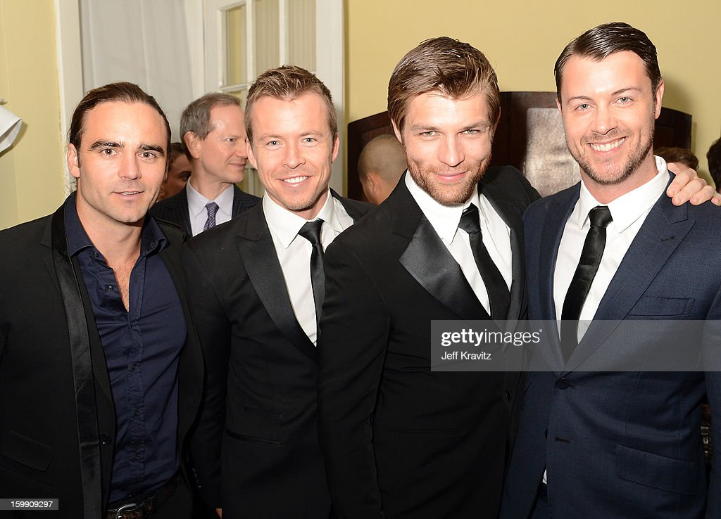 Actors Dustin Clare, Todd Lasance, Liam McIntyr, and Dan Feuerriegel attend the 'Spartacus: War Of The Damned' premiere after party on January 22, 2013 in Los Angeles, California.