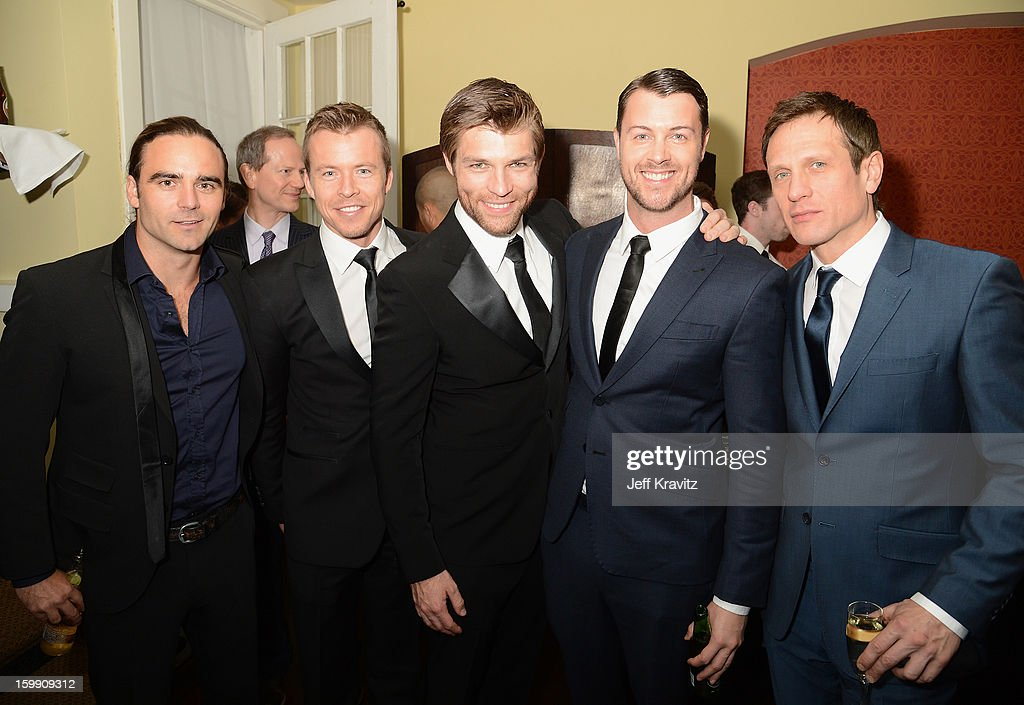 Actors Dustin Clare, Todd Lasance, Liam McIntyr, Dan Feuerriegel, and <a gi-track='captionPersonalityLinkClicked' href=/galleries/search?phrase=Simon+Merrells&family=editorial&specificpeople=5706802 ng-click='$event.stopPropagation()'>Simon Merrells</a> attend the 'Spartacus: War Of The Damned' premiere after party on January 22, 2013 in Los Angeles, California.
