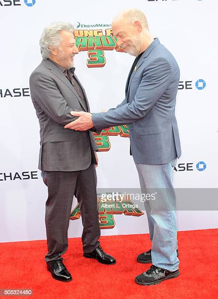 Actors Dustin Hoffman and JK Simmons arrive for the premiere of DreamWorks Animation and Twentieth Century Fox's 'Kung Fu Panda 3' held at TCL...