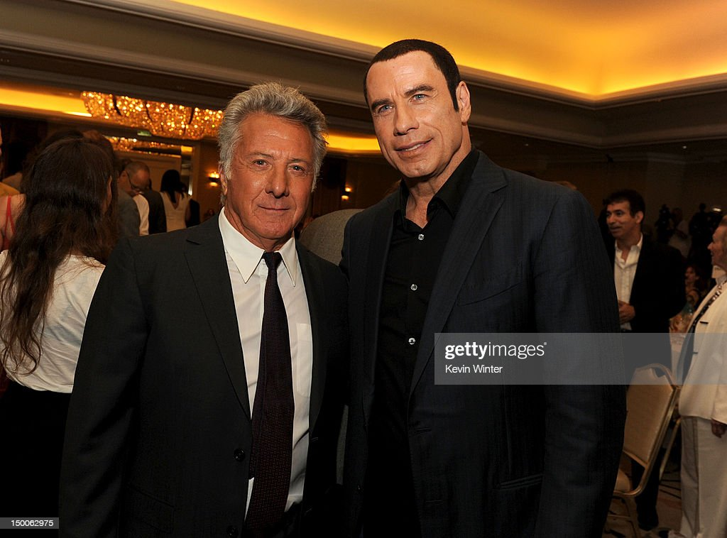 Actors <a gi-track='captionPersonalityLinkClicked' href=/galleries/search?phrase=Dustin+Hoffman&family=editorial&specificpeople=171356 ng-click='$event.stopPropagation()'>Dustin Hoffman</a> and <a gi-track='captionPersonalityLinkClicked' href=/galleries/search?phrase=John+Travolta&family=editorial&specificpeople=178204 ng-click='$event.stopPropagation()'>John Travolta</a> attend the Hollywood Foreign Press Association's 2012 Installation Luncheon held at the Beverly Hills Hotel on August 9, 2012 in Beverly Hills, California.