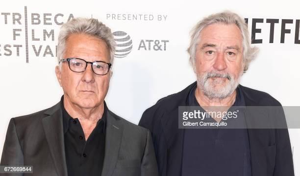 Actors Dustin Hoffman and Robert De Niro attend the 2017 Tribeca Film Festival Tribeca Talks Director's Series Noah Baumbach at BMCC Tribeca PAC on...