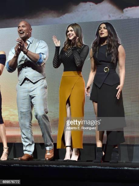 Actors Dwayne Johnson Alexandra Daddario and Priyanka Chopra speak onstage at CinemaCon 2017 Paramount Pictures Presentation Highlighting Its Summer...