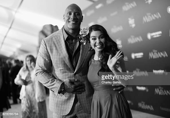 Actors Dwayne Johnson and Auli'i Cravalho attend The World Premiere of Disney's 'MOANA' at the El Capitan Theatre on Monday November 14 2016 in...