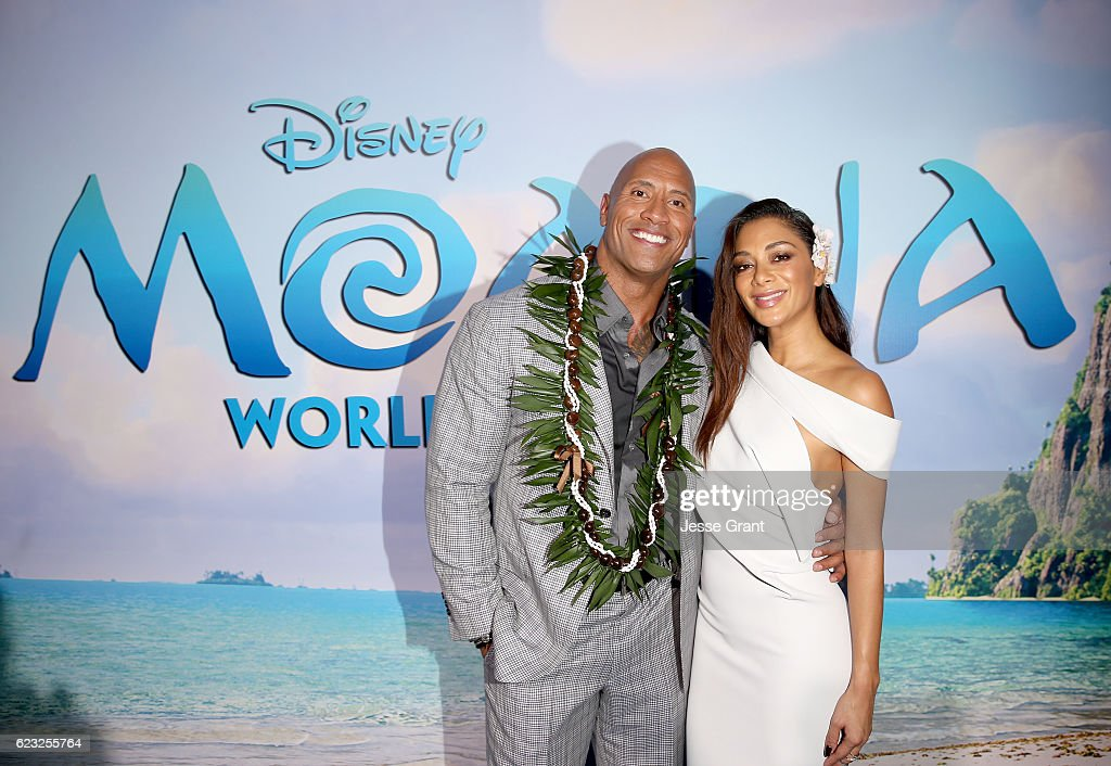 Actors Dwayne Johnson (L) and Nicole Scherzinger attend The World Premiere of Disney's 'MOANA' at the El Capitan Theatre on Monday, November 14, 2016 in Hollywood, CA.