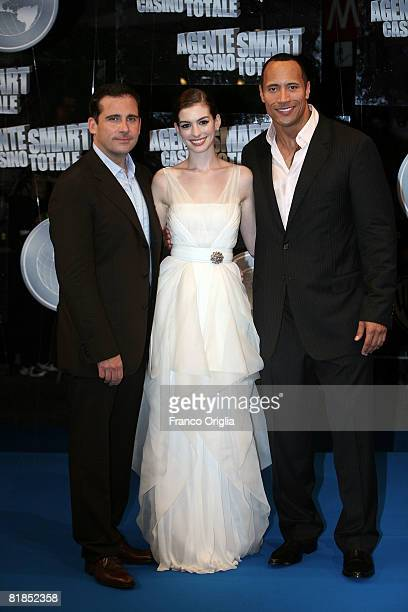 Actors Dwayne Johnson Anne Hathaway and Steve Carell attend the 'Get Smart' premiere at Warner Moderno Cinema on July 7 2008 in Rome Italy