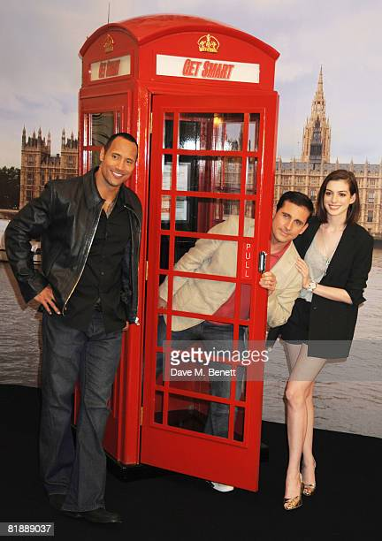 Actors Dwayne Johnson Steve Carell and Anne Hathaway attend a photocall to promote the film 'Get Smart' at Claridge's Hotel on July 10 2008 in London...