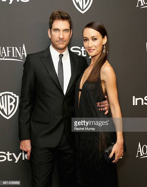 Actors Dylan McDermott and Maggie Q attend the 2015 InStyle And Warner Bros 72nd Annual Golden Globe Awards PostParty at The Beverly Hilton Hotel on...