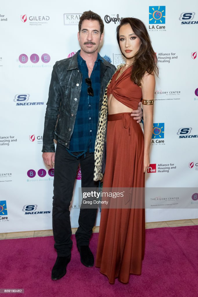 Actors Dylan McDermott and Maggie Q attend the Best In Drag Show 2017 at Orpheum Theatre on October 8, 2017 in Los Angeles, California.