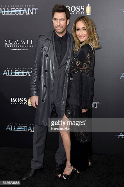 Actors Dylan McDermott and Maggie Q attend the New York premiere of 'Allegiant' at the AMC Lincoln Square Theater on March 14 2016 in New York City