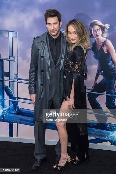 Actors Dylan McDermott and Maggie Q attends the 'Allegiant' New York Premiere at AMC Loews Lincoln Square 13 theater on March 14 2016 in New York City