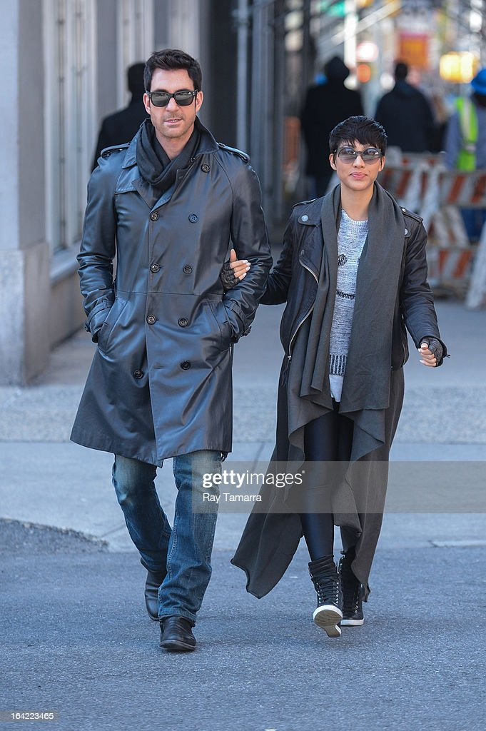 Actors Dylan McDermott (L) and Shasi Wells walk in Soho on March 20, 2013 in New York City.
