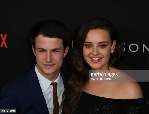 Actors Dylan Minnette and Katherine Langford arrives for the premiere Of Netflix's '13 Reasons Why' at Paramount Pictures Studio in Los Angeles...