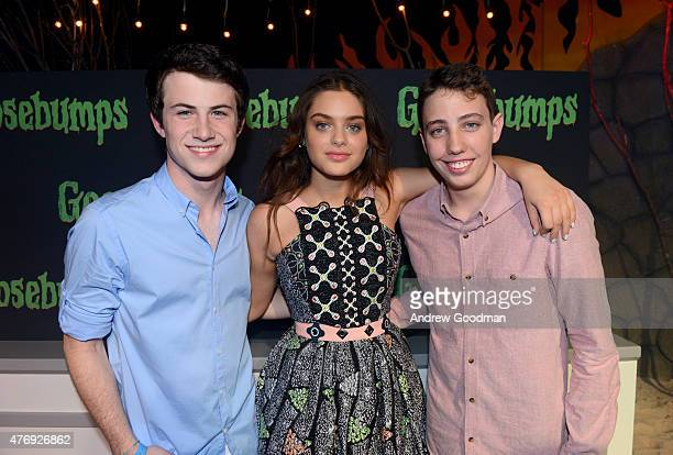 Actors Dylan Minnette Odeya Rush and Ryan Lee attend 'Goosebumps' photo call during Summer Of Sony Pictures Entertainment 2015 at The RitzCarlton...