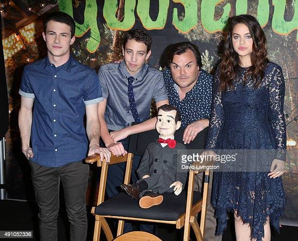 Actors Dylan Minnette Ryan Lee Jack Black and Odeya Rush pose with Slappy the Dummy at the photo call for Sony Pictures Entertainment's 'Goosebumps'...