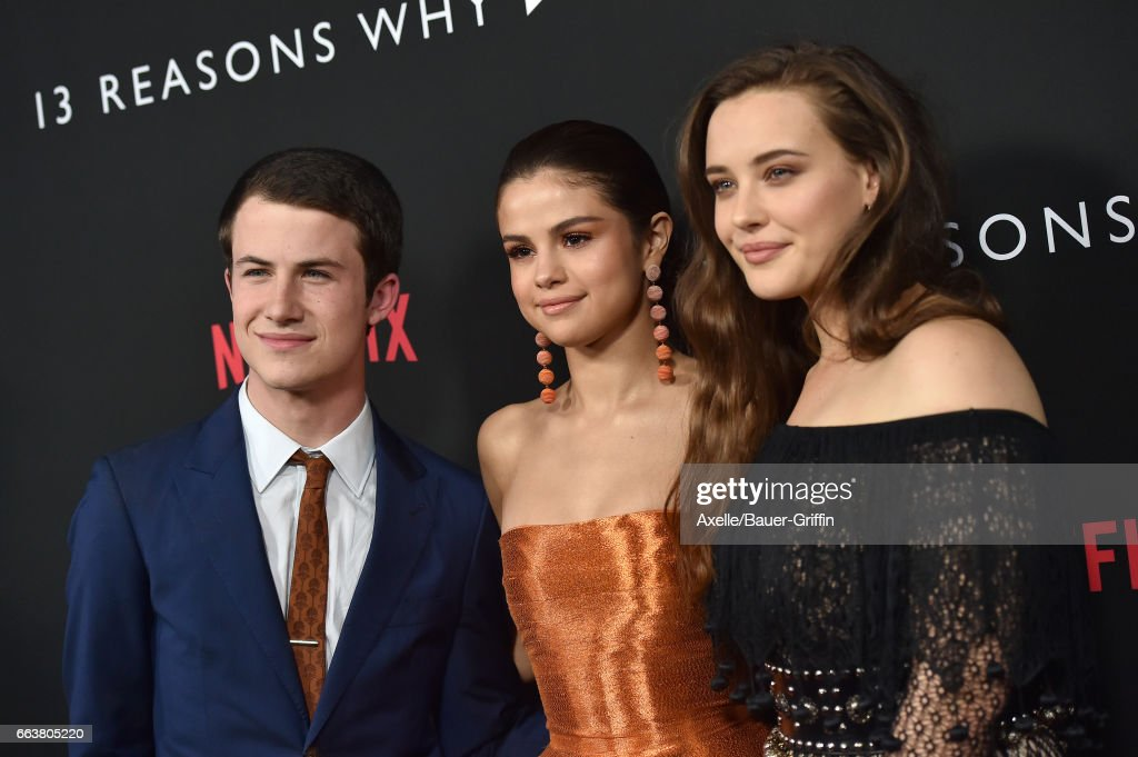 Actors Dylan Minnette, Selena Gomez and Katherine Langford arrive at the Premiere of Netflix's '13 Reasons Why' at Paramount Pictures on March 30, 2017 in Los Angeles, California.