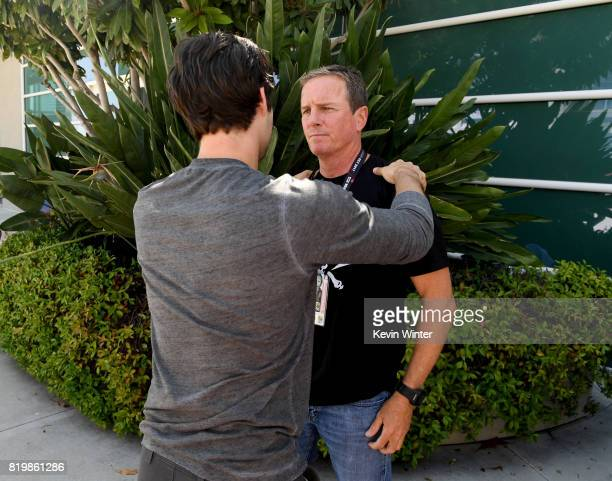 Actors Dylan O'Brien and Linden Ashby pose backstage after their Hall H panel during ComicCon International 2017 at San Diego Convention Center on...