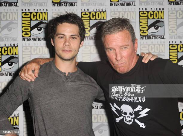 Actors Dylan O'Brien and Linden Ashby pose backstage at the 'Teen Wolf' panel during ComicCon International 2017 at San Diego Convention Center on...
