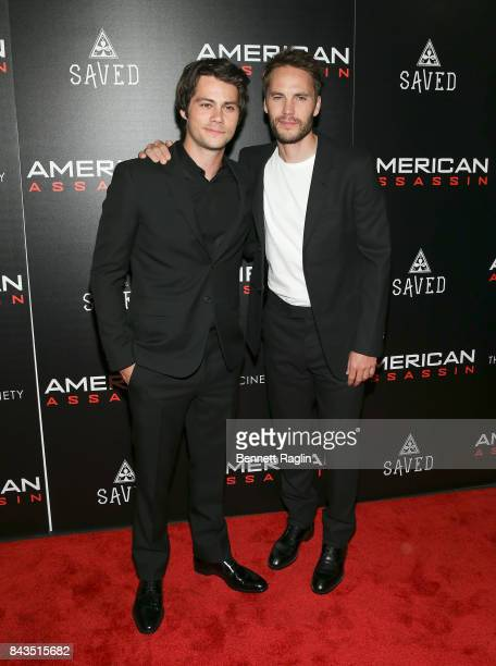 Actors Dylan O'Brien and Taylor Kitsch attend The Cinema Society Saved wines screening of CBS Films' 'American Assassin' at iPic Theater on September...