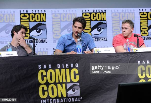 Actors Dylan O'Brien and Tyler Posey and executive producer Jeff Davis speak onstage at the 'Teen Wolf' panel during ComicCon International 2017 at...