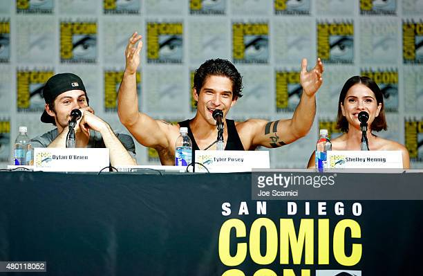 Actors Dylan O'Brien Tyler Posey and Shelley Hennig speak onstage at MTV's 'Teen Wolf' panel during ComicCon International 2015 at the San Diego...