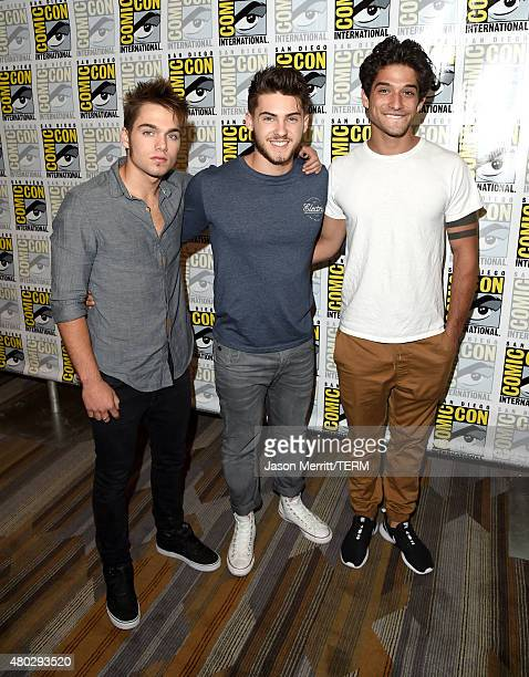Actors Dylan Sprayberry Cody Christian and Tyler Posey attend the 'Teen Wolf' press room during ComicCon International 2015 at the Hilton Bayfront on...