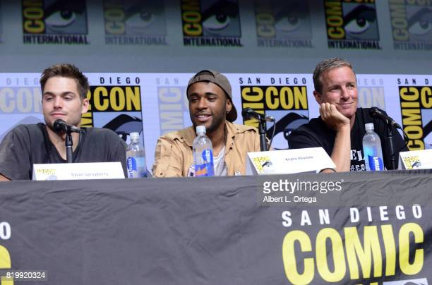 Actors Dylan Sprayberry Khylin Rhambo and Linden Ashby speak onstage at the 'Teen Wolf' panel during ComicCon International 2017 at San Diego...