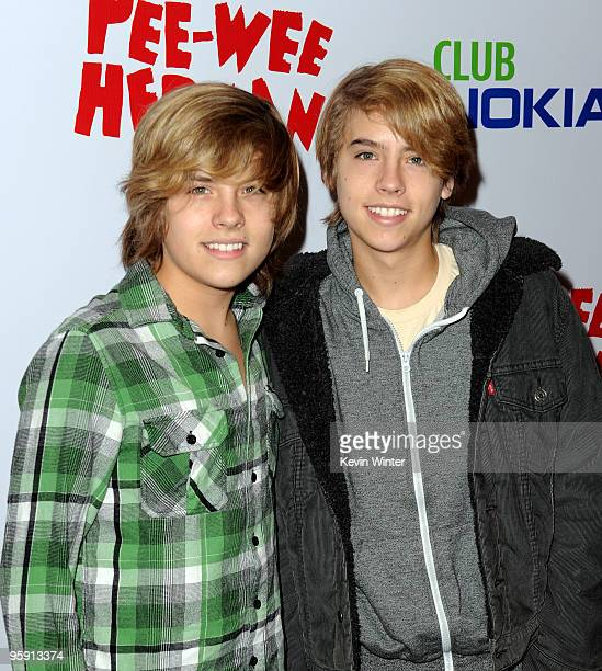 Actors Dylan Sprouse and Cole Sprouse arrive at the opening night of 'The Peewee Herman Show' in Club Nokia at LA Live on January 20 2010 in Los...