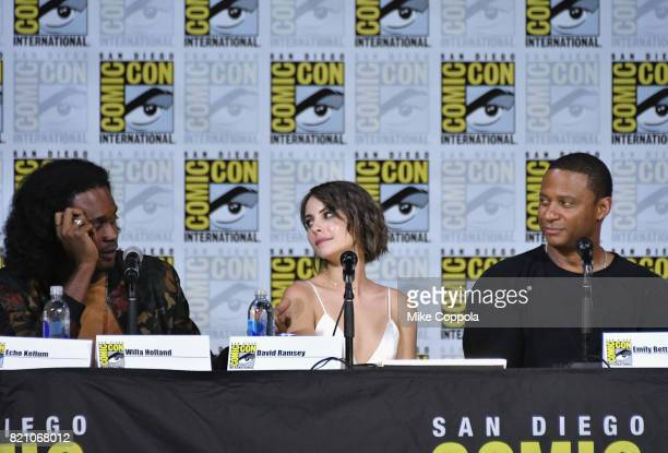 Actors Echo Kellum Willa Holland and David Ramsey attend the 'Arrow' Video Presentation And QA during ComicCon International 2017 at San Diego...