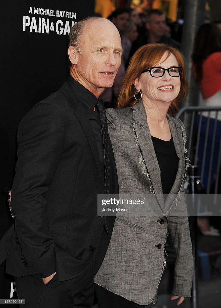 Actors Ed Harris and Amy Madigan attend the 'Pain & Gain' premiere held at TCL Chinese Theatre on April 22, 2013 in Hollywood, California.