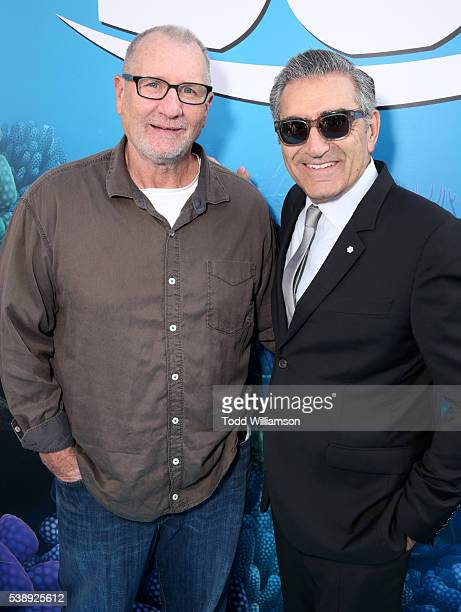 Actors Ed O'Neill and Eugene Levy attend the world premiere of DisneyPixar's 'Finding Dory' at the El Capitan Theatre on June 8 2016 in Hollywood...