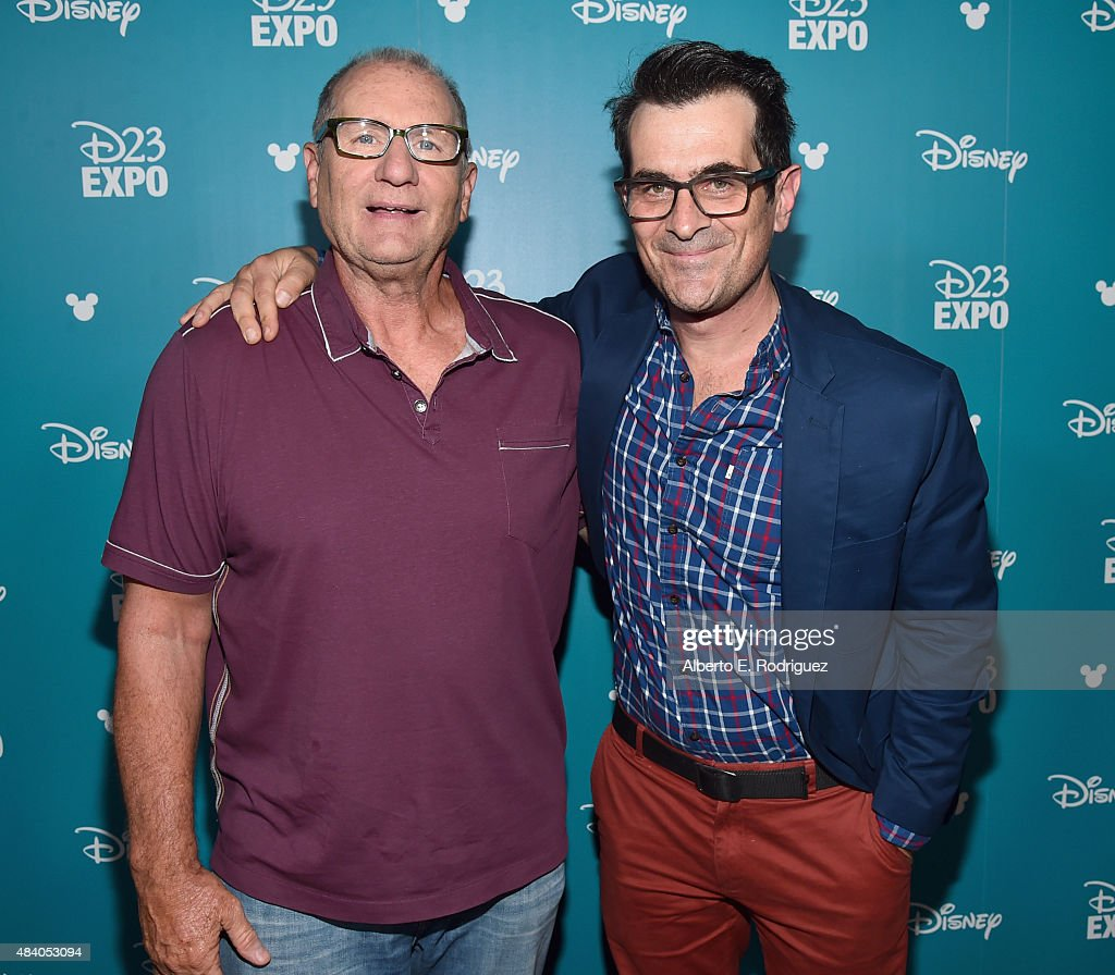 Actors Ed O'Neill (L) and Ty Burrell of FINDING DORY took part today in 'Pixar and Walt Disney Animation Studios: The Upcoming Films' presentation at Disney's D23 EXPO 2015 in Anaheim, Calif.