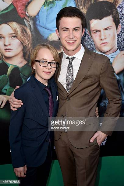 Actors Ed Oxenbould and Dylan Minnette attend the premiere of Disney's 'Alexander and the Terrible Horrible No Good Very Bad Day' at the El Capitan...