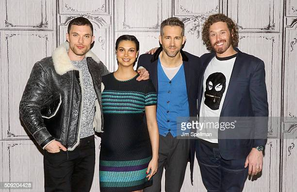 Actors Ed Skrein Morena Baccarin Ryan Reynolds and TJ Miller attend the AOL Build Speaker Series Ryan Reynolds TJ Miller Ed Skrein and Morena...