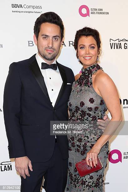 Actors Ed Weeks and Bellamy Young attends the 24th Annual Elton John AIDS Foundation's Oscar Viewing Party on February 28 2016 in West Hollywood...