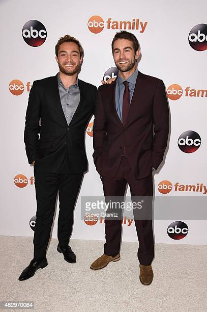 Actors Ed Westwick and Chace Crawford attend Disney ABC Television Group's 2015 TCA Summer Press Tour at the Beverly Hilton Hotel on August 4 2015 in...