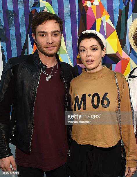 Actors Ed Westwick and Rose McGowan attend the 8th Annual Pieces Of Heaven Art Auction presented by The Art Of Elysium and Samsung Galaxy at MAMA...