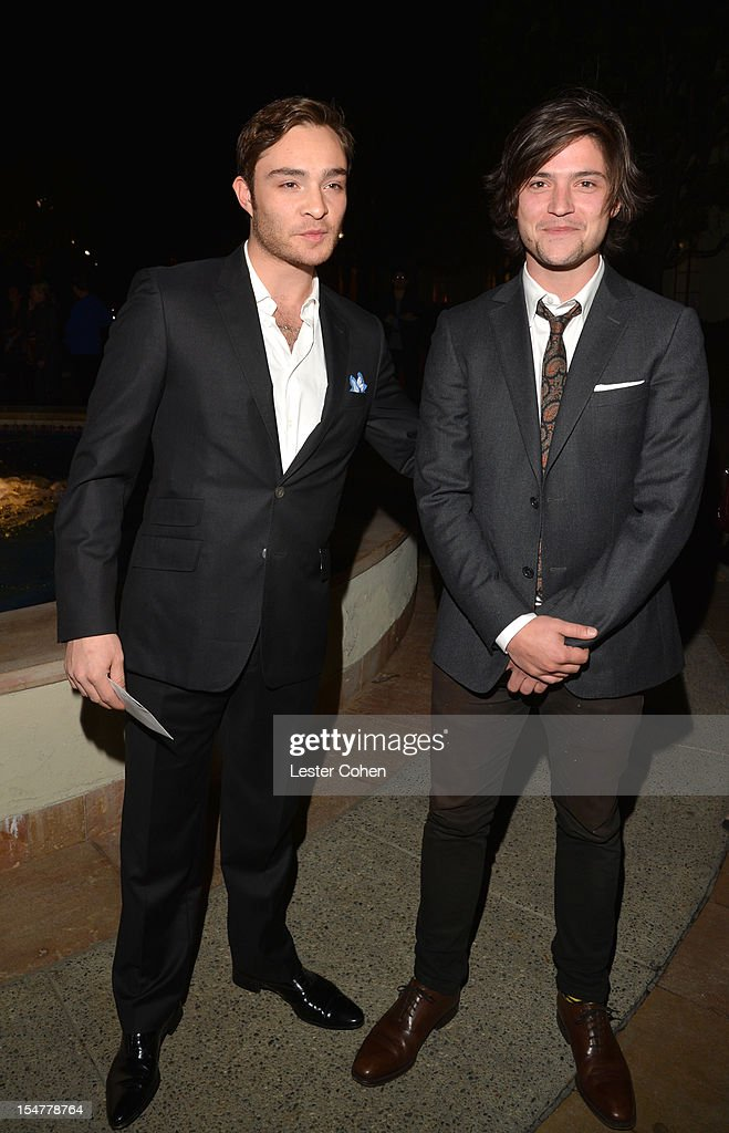 Actors Ed Westwick and Thomas McDonell arrive at the Los Angeles premiere of 'Fun Size' at Paramount Studios on October 25, 2012 in Hollywood, California.